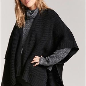 NWT Forever21 Black Open Front Shawl Sweater